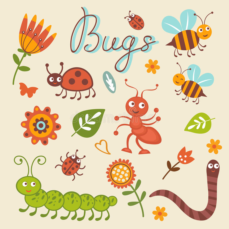 Cute collection of happy little bugs royalty free illustration