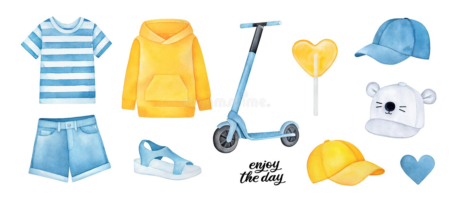 Cute collection of sportive clothes and accessories: shorts, t-shirt, baseball caps, kick scooter, warm hoodie and sandals. stock illustration