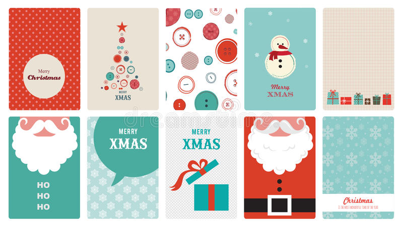 Cute collection of vintage christmas greeting royalty free illustration