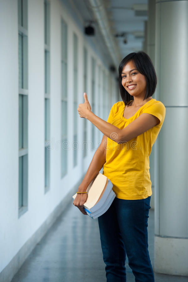Download Cute College Student Thumbs Up Side Royalty Free Stock Image - Image: 17555416