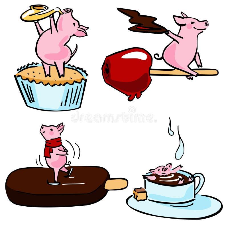 Cute color vector funny set costumed magic pigs vector illustration