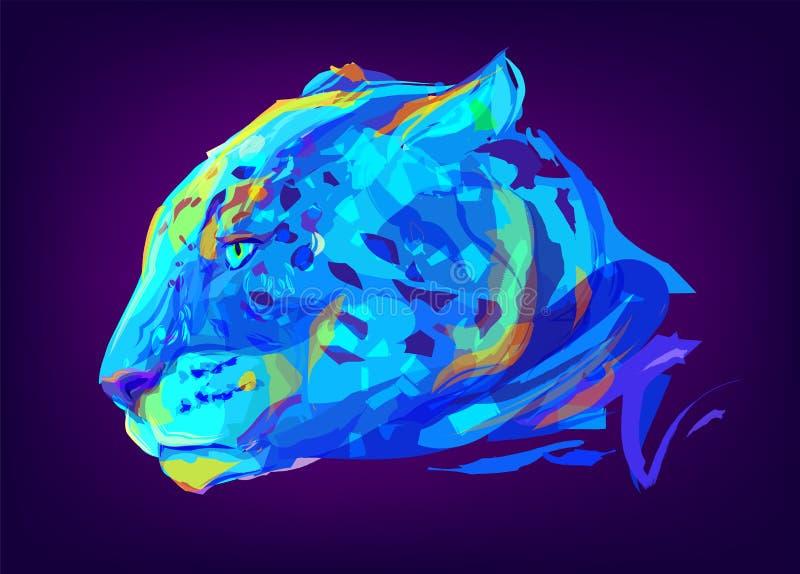 The cute colored jaguar head royalty free illustration