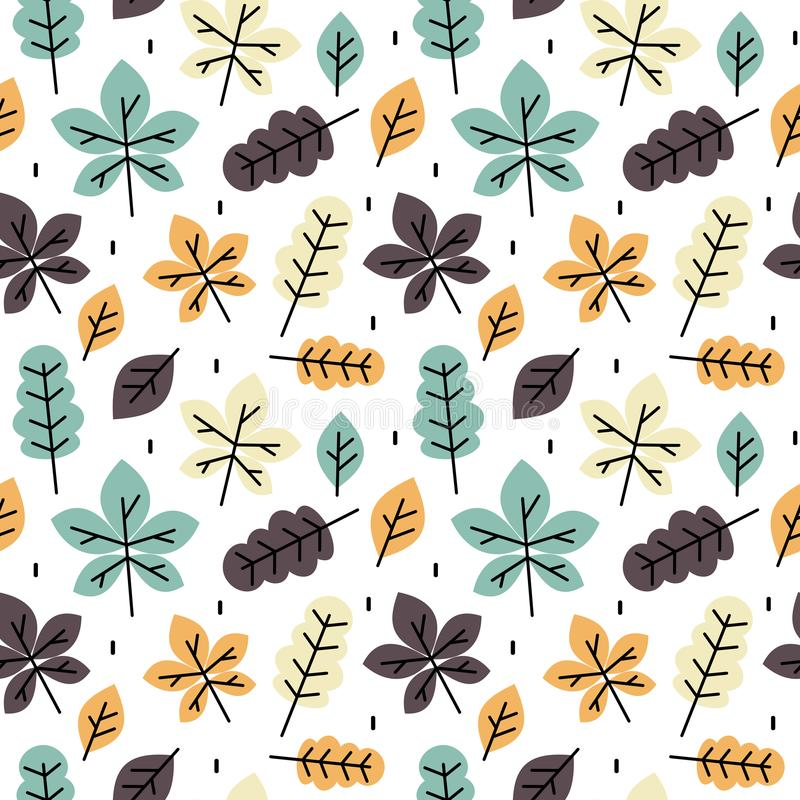 Cute colorful autumn fall seamless vector pattern background illustration with leaves. Cute colorful autumn fall seamless pattern background illustration with stock illustration