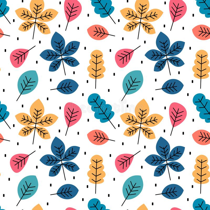 Cute colorful autumn fall seamless vector pattern background illustration with leaves royalty free illustration