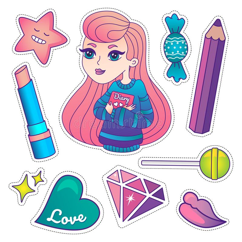 Cute colorful badges and stickers royalty free stock photo