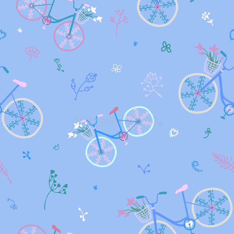 Cute colorful beautiful bicycles seamless pattern with decorative wheels and flowers. stock illustration