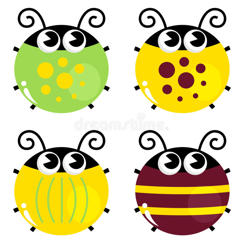 Free Cute Colorful Beetle Set Stock Images - 29413004