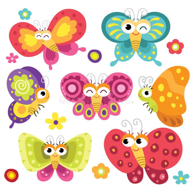 Cute and Colorful Butterflies. A Vector Illustration of Cute and Colorful Butterflies royalty free illustration