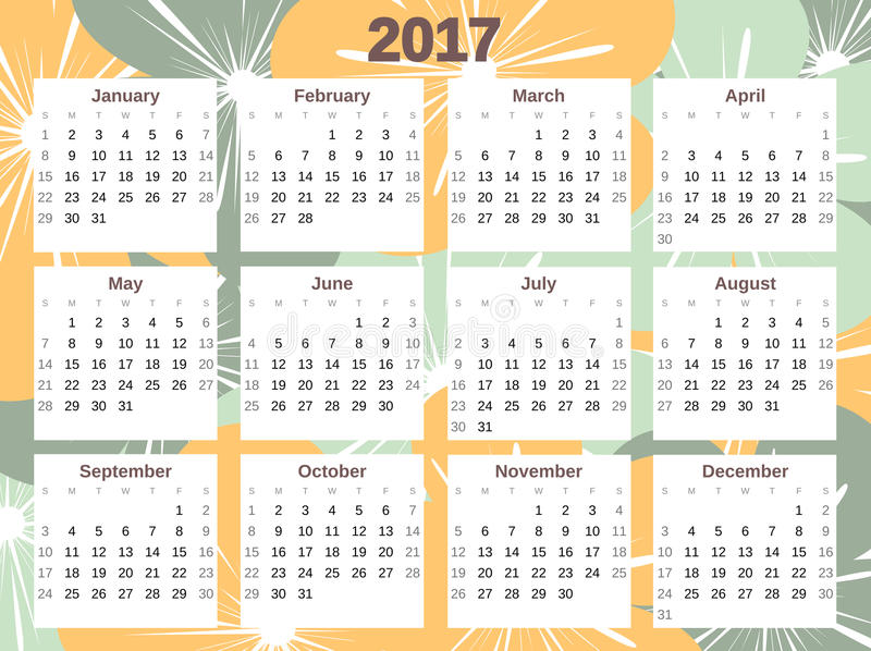 cute colorful 2017 calendar with flowers stock vector illustration