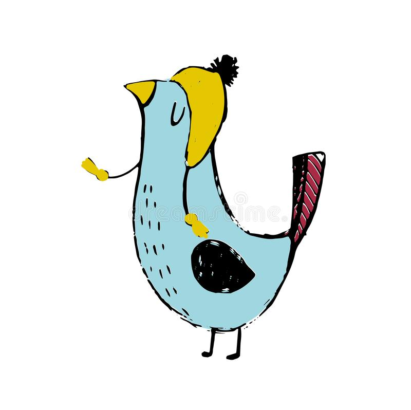 Cute colorful cartoon bird. funny sticker of birds on white background. royalty free illustration