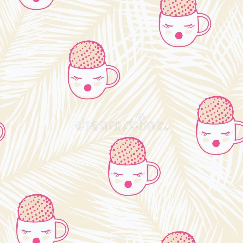 Cute colorful cartoon cactus seamless pattern design stock photo