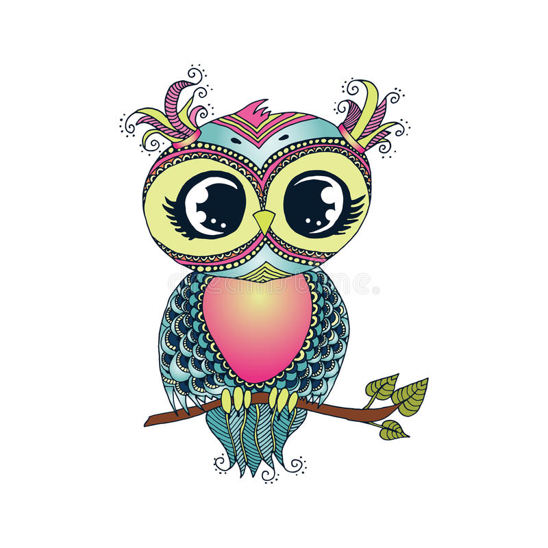 Cute colorful cartoon owl sitting on tree branch stock images