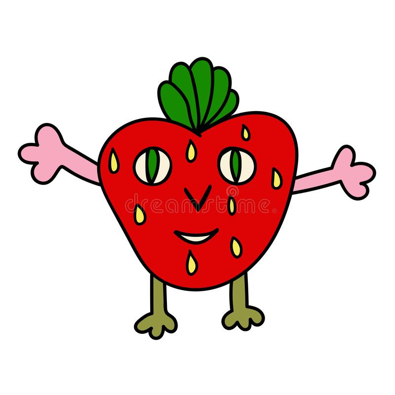 Cute colorful cartoon red happy strawberry character with green leaves. And yellow seeds isolated on white background. Vector illustration royalty free illustration