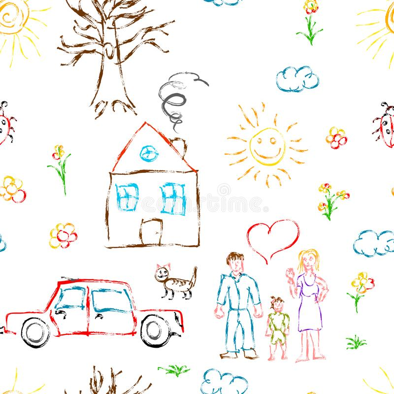 Cute colorful child hand drawn objects like family, flowers, house, grass, tree, sun and cat, seamless pattern on white royalty free illustration