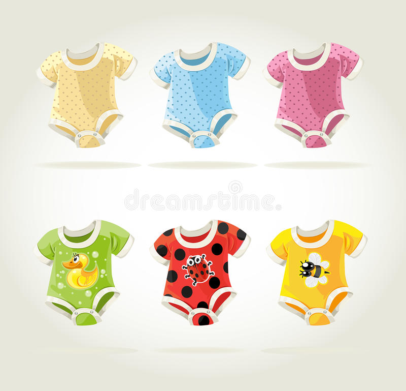Cute colorful costumes for babies with fun prints stock illustration