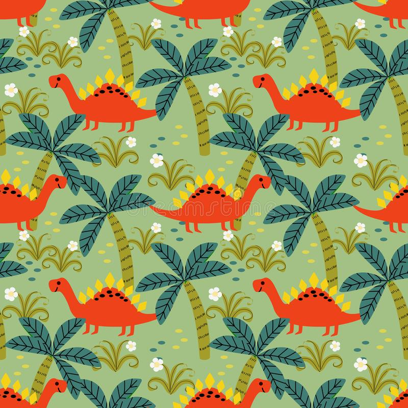 Cute colorful dinosaur seamless pattern. Material for kids fabric, textile, nursery wallpaper. Lovely dino design royalty free illustration