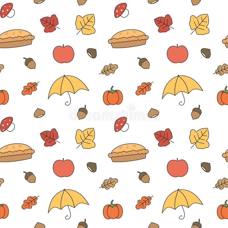 Cute colorful fall autumn collection seamless vector pattern background illustration. Cute colorful fall autumn collection seamless pattern background royalty free illustration