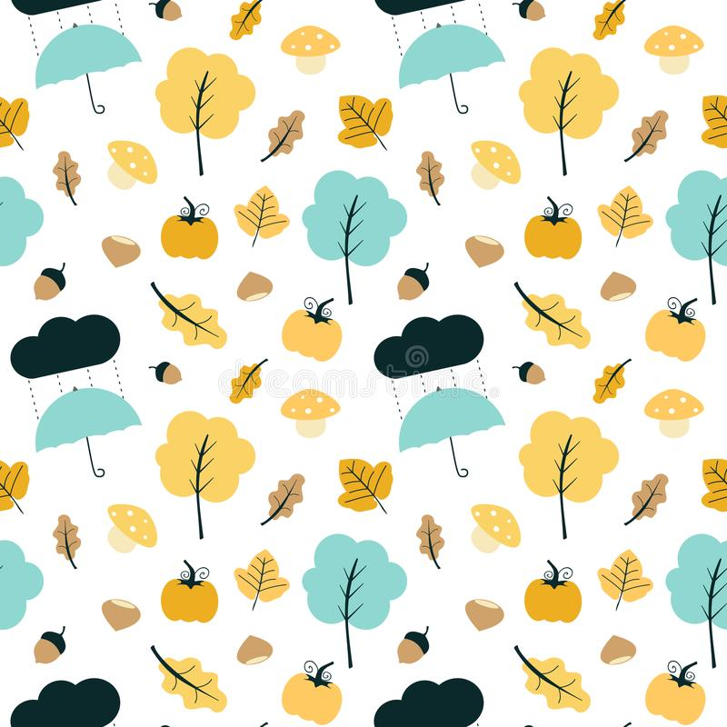 Cute colorful fall autumn mix seamless vector pattern background illustration. Colorful fall autumn mix seamless vector pattern background illustration royalty free illustration