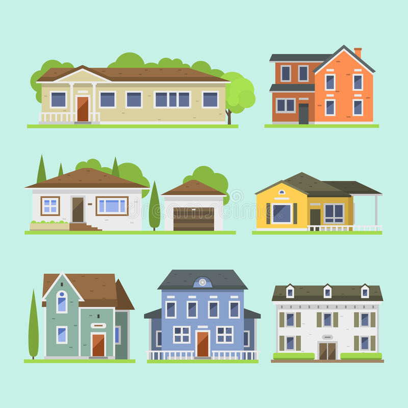 Cute Colorful Flat Style House Village Symbol Real Estate