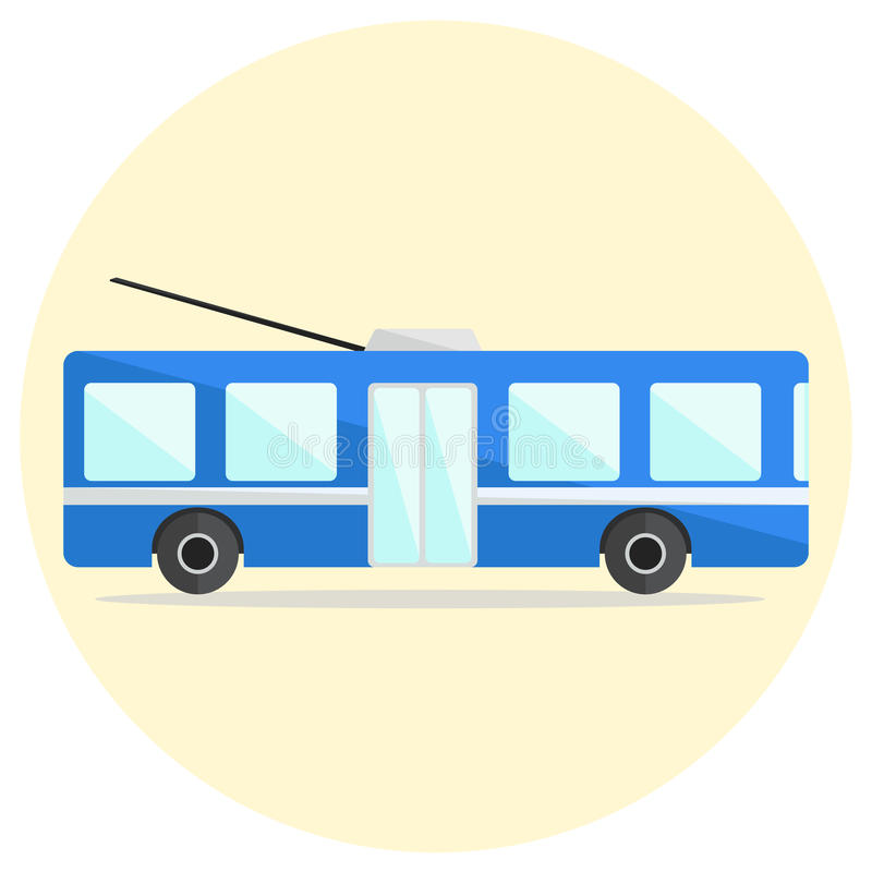Cute colorful flat trolley bus icon royalty free illustration