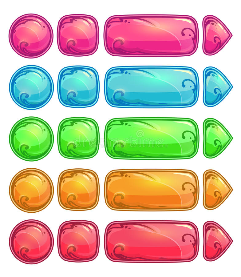 Cute colorful glossy buttons. Set, funny vector ui elements for web or game design, on white royalty free illustration