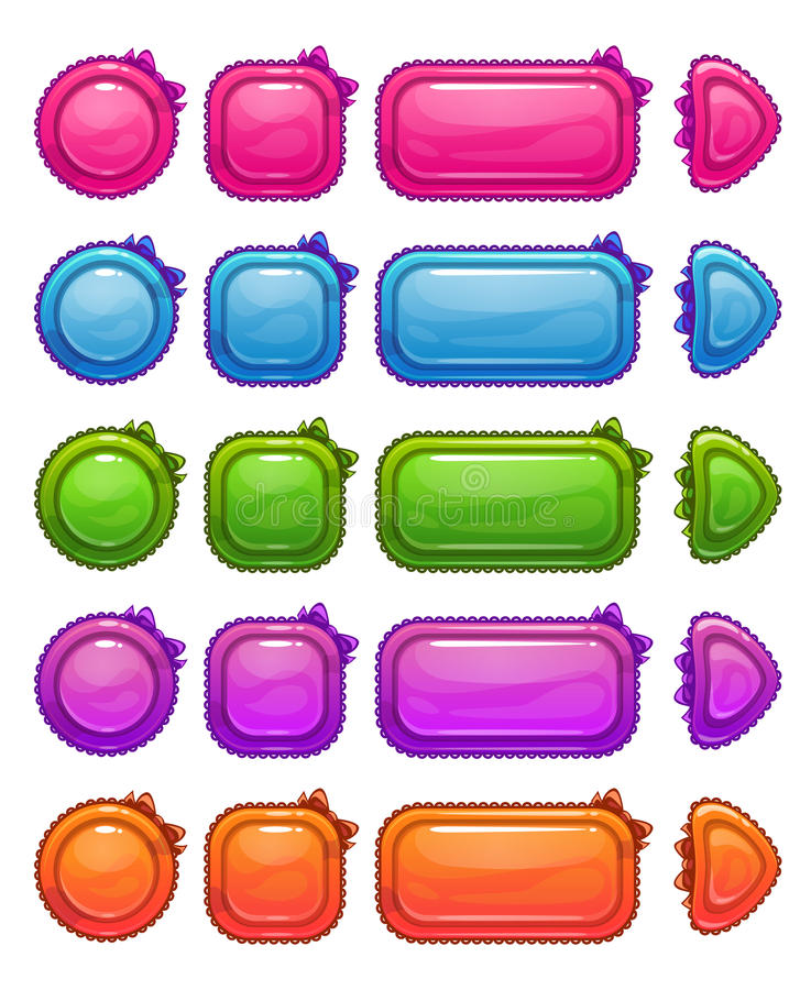 Cute colorful glossy girlie buttons. Set, funny vector ui elements for web or game design vector illustration