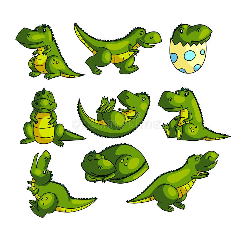 Cute colorful green dino character in different poses stock illustration