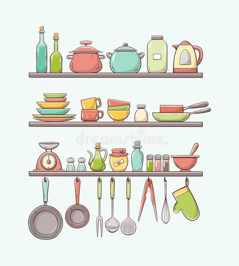 Cute colorful hand drawn kitchen shelves stock illustration