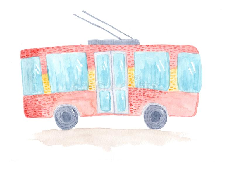 Cute colorful hand drawn watercolor trolleybus. Tender childish illustration of trolley isolated on white background for kids prints, educational apps, books vector illustration