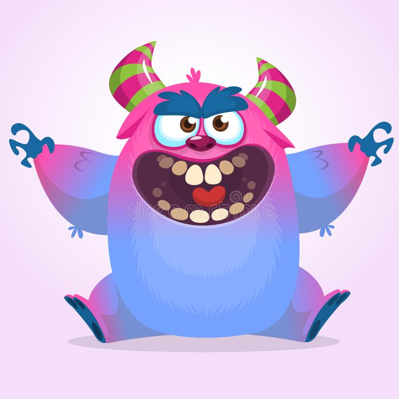 Cute colorful happy cartoon monster. Vector fat monster mascot character. Halloween design royalty free illustration