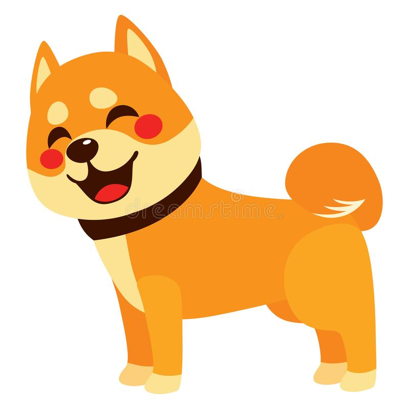 Happy Dog Side View. Cute colorful happy shiba inu dog smiling isolated on white background side view vector illustration