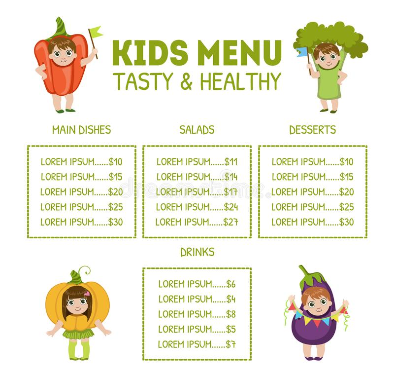 Cute Colorful Kids Meal Menu with Cute Children Dressed Like Vegetables Vector Illustration. Web Design stock illustration