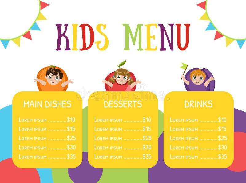 Cute Colorful Kids Meal Menu with Happy Children Dressed Like Fruits Vector Illustration. Web Design vector illustration