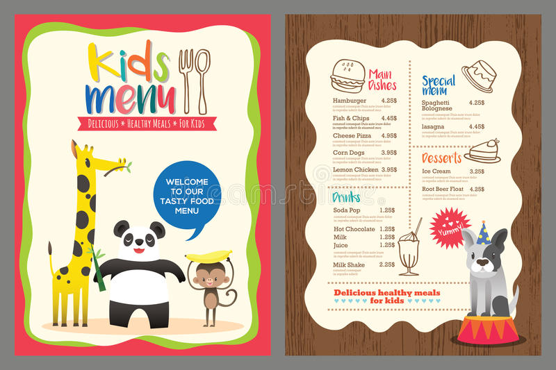 Cute colorful kids meal menu template with animals cartoon stock illustration