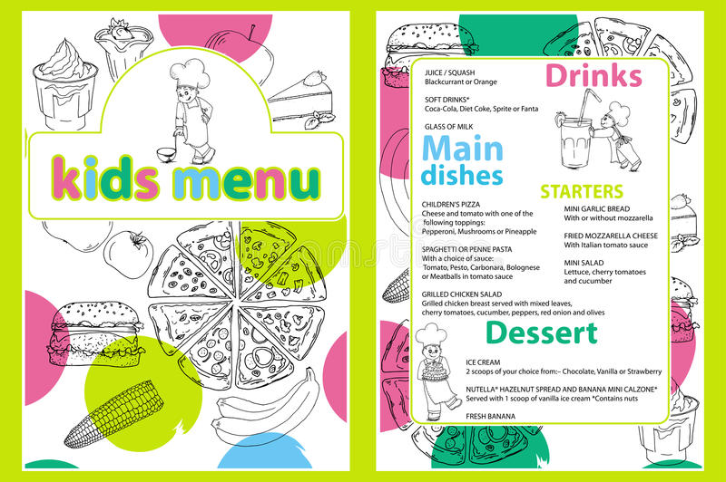 Cute colorful kids meal menu template with funny cartoon kitchen boy. Different types of dishes on a hand drawn grocery bac royalty free illustration