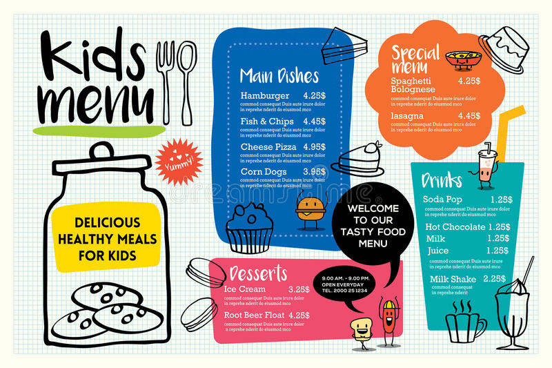 Cute colorful kids meal menu template stock illustration