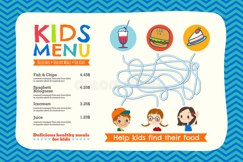 Cute colorful kids meal menu template royalty free illustration
