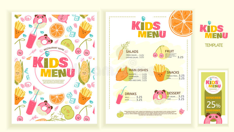 Cute colorful kids meal menu vector template stock illustration