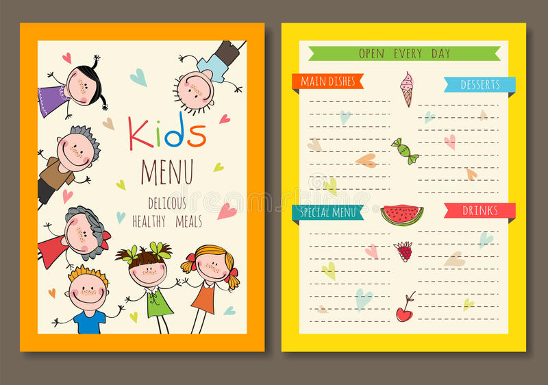 Cute colorful kids meal menu vector template royalty free illustration
