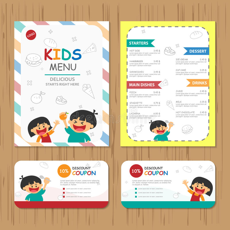 Cute colorful kids meal menu vector template with happy boy and stock illustration