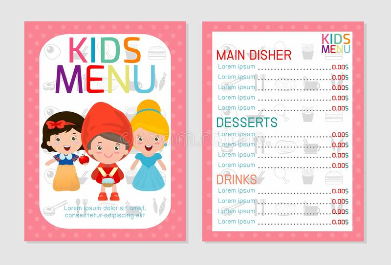 Cute colorful kids meal menu vector template, kids menu, Cute colorful kids meal menu design stock illustration