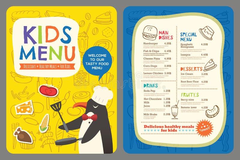 Cute colorful kids meal menu vector template with penguin cartoon. Cute colorful kids meal restaurant menu vector template with penguin cartoon vector illustration