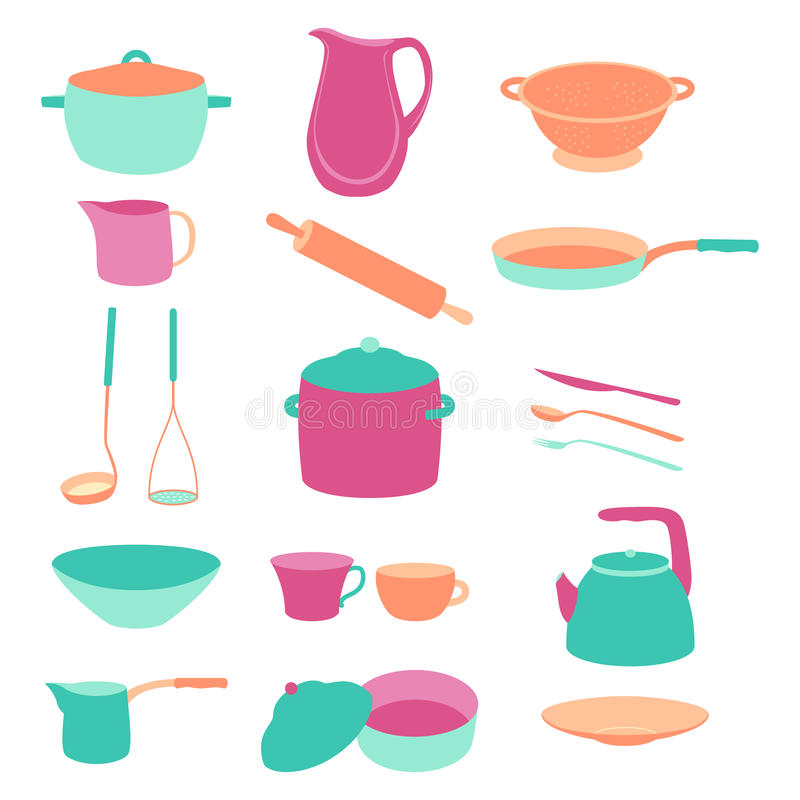 Cute Colorful Kitchen Utensil Set. Flat Design Stock