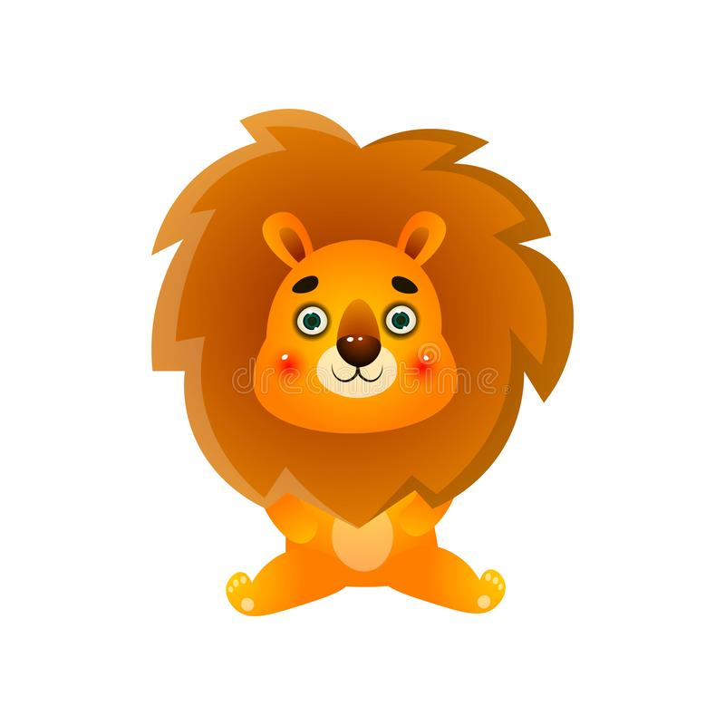 Cute colorful lion kid stay shocked after tv news stock illustration