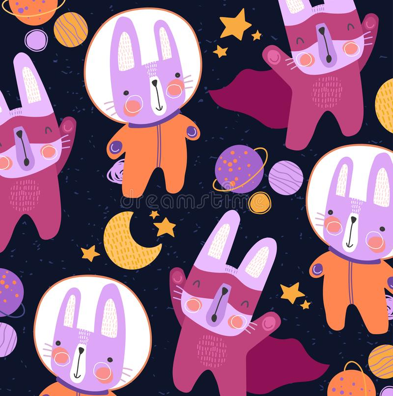 Cute colorful little cats in space suits and super hero cloaks over a starry sky with moon in a kids background vector. Pattern design. Square format for tile royalty free illustration