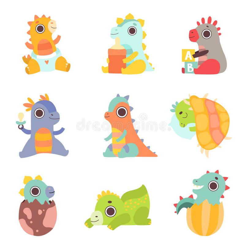 Cute Colorful Little Dinos Set, Adorable Newborn Dinosaurs Characters Vector Illustration. On White Background vector illustration