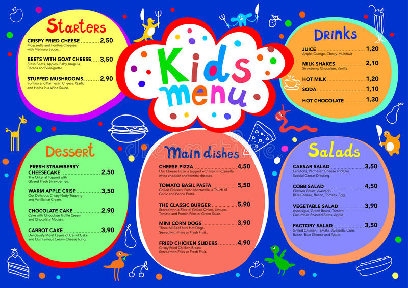 Cute colorful meal kids menu template with cute little monsters vector illustration