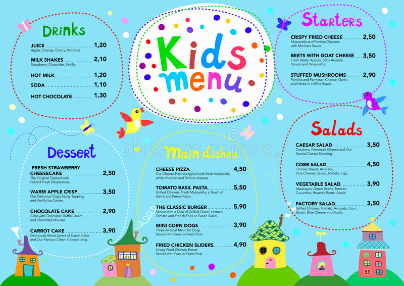 Cute colorful meal kids menu template with cute little sweet houses vector illustration