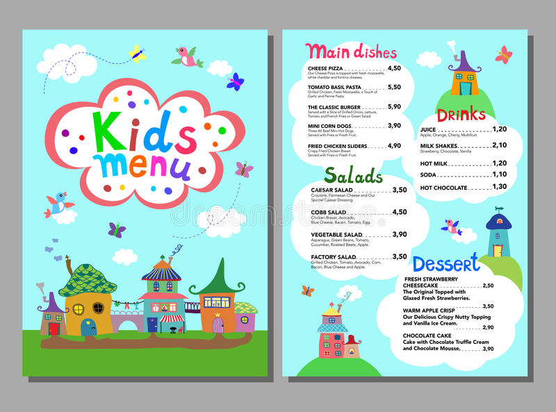 Cute Colorful Meal Kids Menu Template. Stock Vector - Illustration ...