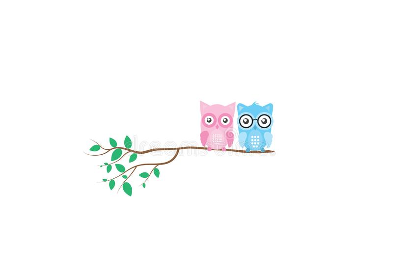 Cute colorful owls on branch in spring, vector isolated on white background, Kids Wall decor stock illustration